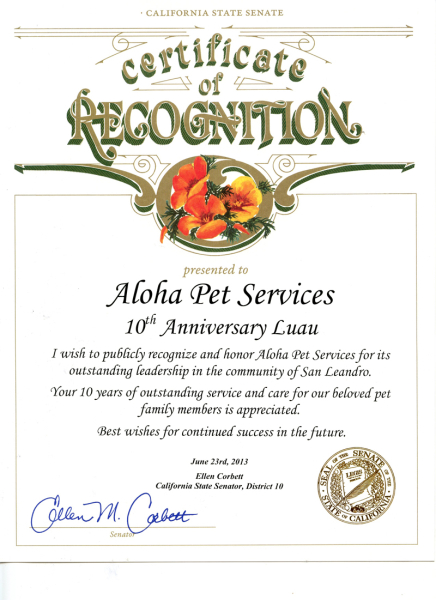 10th Anniversary Luau Californiat State Senate Certificate of Recognition