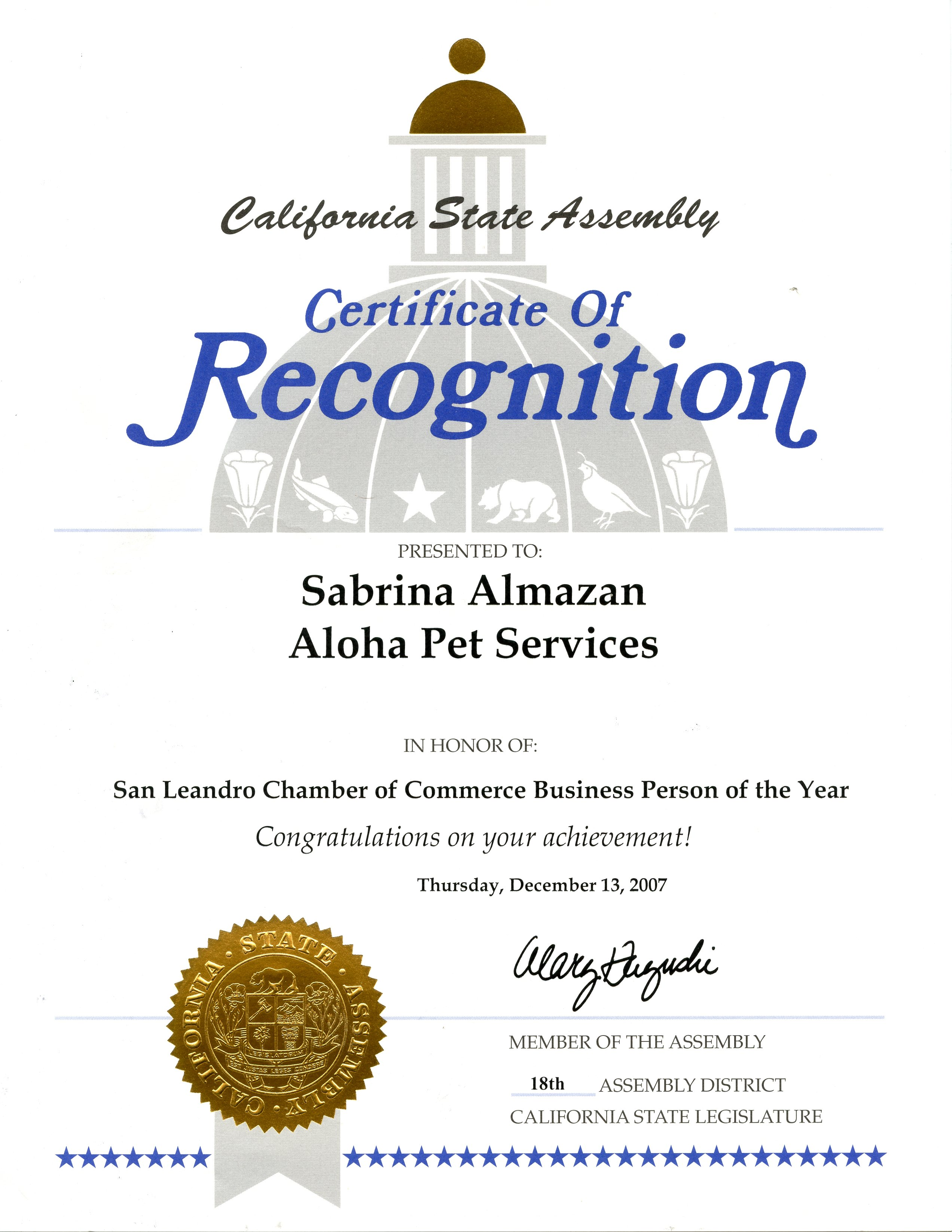 California State Assembly Business Person of the Year