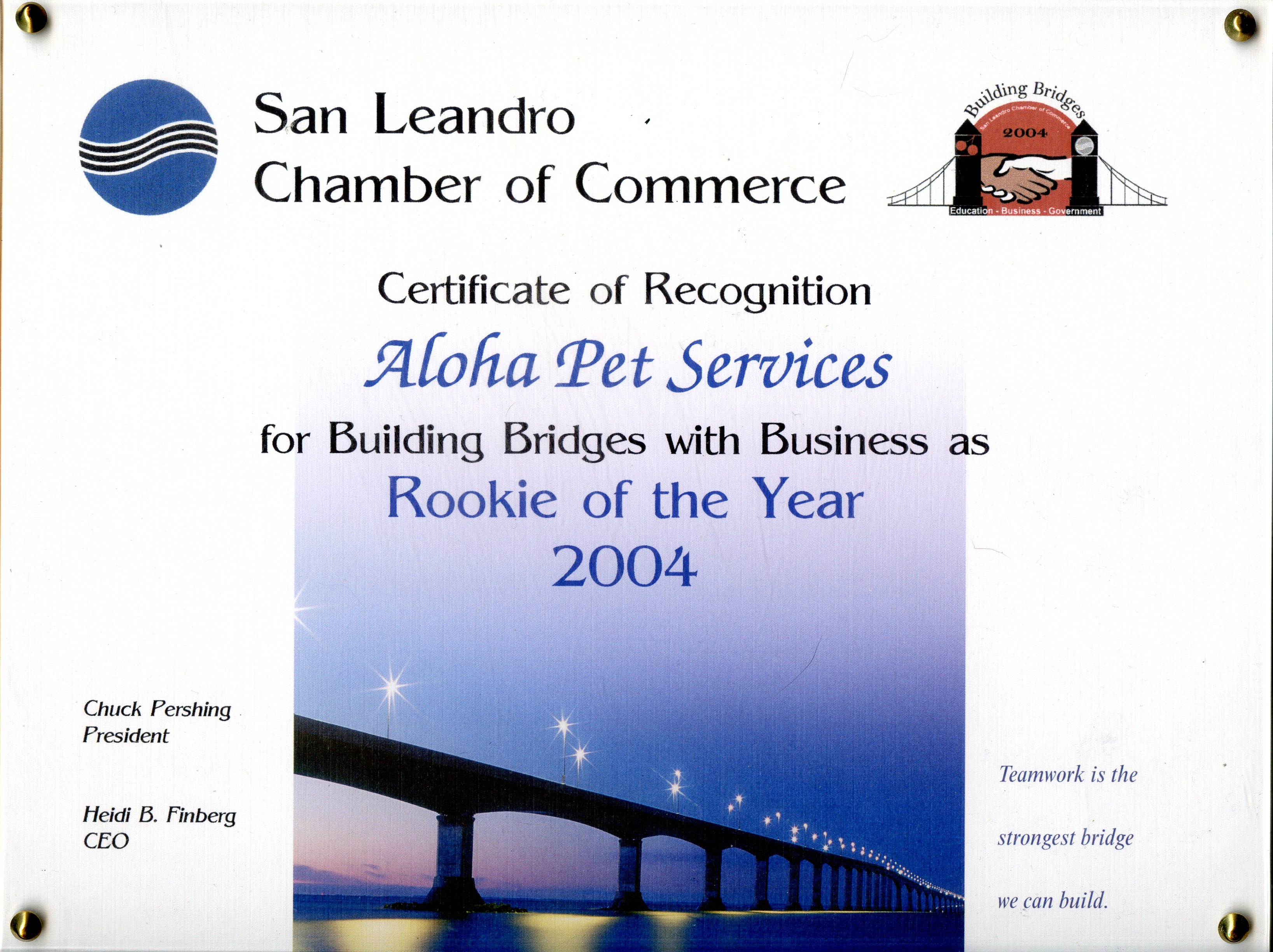 San Leandro Chamber of Commerce Rookie of the Year 2004