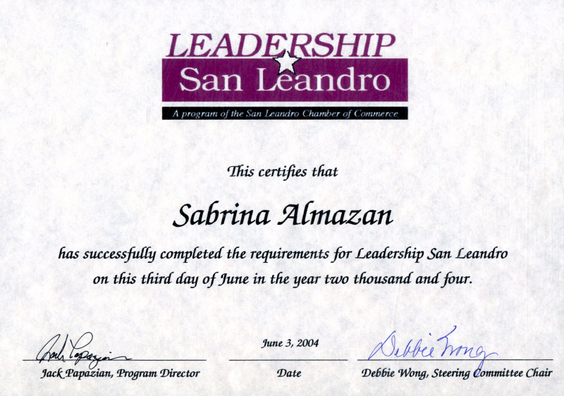 Awards certifications certificate of completion leadership san leandro yadclub Gallery