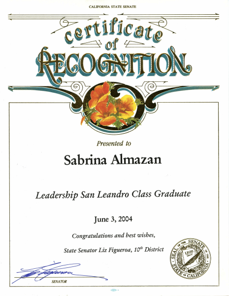 Certificate of Recognition California State Senate Leadership Graduate