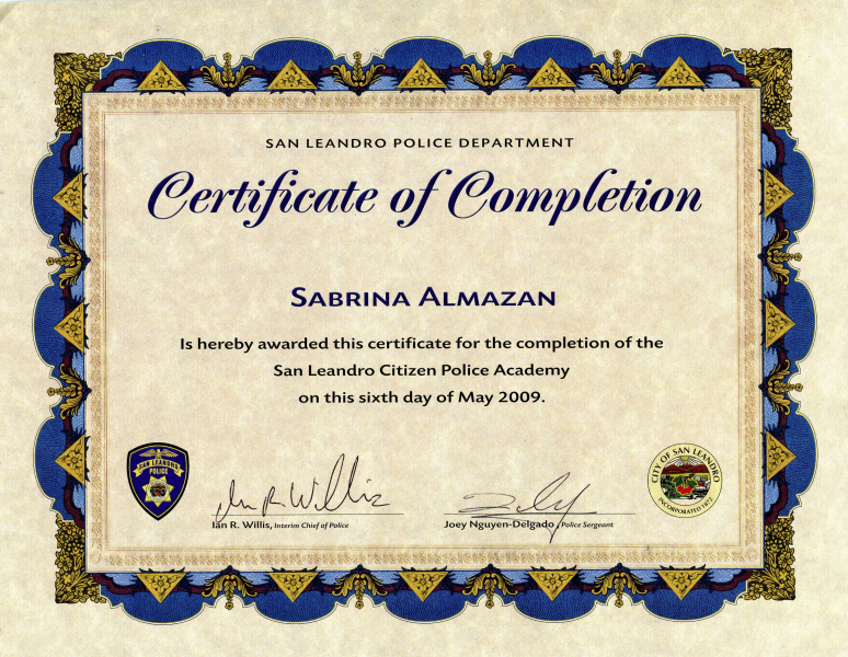 Certificate of Completion San Leandro Citizen Police Academy